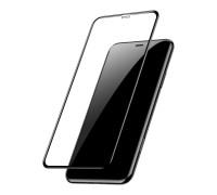 Защитное стекло для iPhone XR (вид - 5D полная проклейка, черная рамка, комплектация эконом)