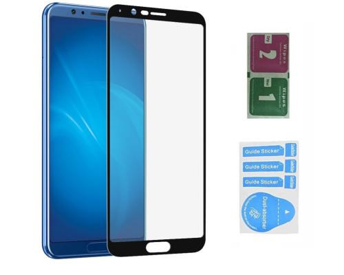 Защитное стекло для Huawei Honor View 10 (вид - 5D, черная рамка, в комплекте салфетка и стикер)