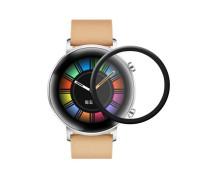 Защитное стекло PMMA для Huawei Watch GT2 42 mm, с полной проклейкой, чёрное
