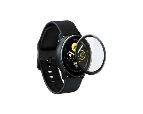 Защитная пленка PMMA для Samsung Galaxy Watch Active 2 40mm, с полной проклейкой, чёрная
