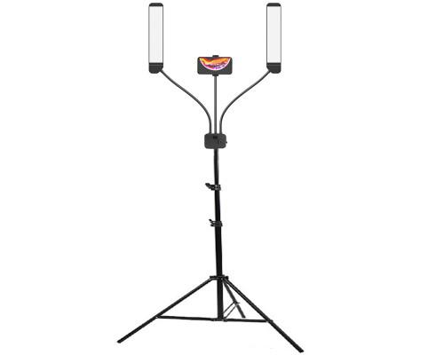 Светодиодная фото лампа AL-45X двойная, с держателем для телефона на штативе, черная