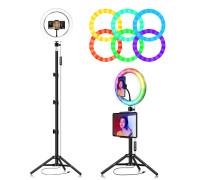 Кольцевая лампа  RGB LED MJ26 26 см с держателем для смартфона, со штативом, 15 цветовых схем и 10 ступеней яркости