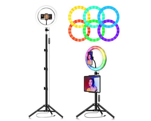 Кольцевая лампа  RGB LED MJ26 26 см. с держателем для смартфона, с напольным штативом, 15 цветовых схем и 10 ступеней яркости.