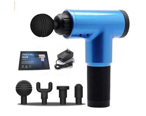 Мышечный массажер (ударный) Fascial Gun KH-320 беспроводной на аккумуляторе, синий