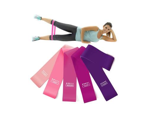 Резинки для фитнеса (эспандер мини-петли) набор из 5шт + чехол для хранения, до 18кг, 30х5 см