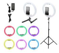 Кольцевая лампа RGB с держателем для смартфона, со штативом и настольной подставкой, размер лампы - 32 см