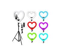 Кольцевая лампа RGB в виде сердца, со штативом и держателем телефона, размер лампы - 49 см