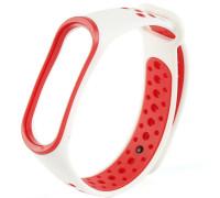 Ремешок для Xiaomi Mi Band 3 перфорированный белый с красной окантовкой