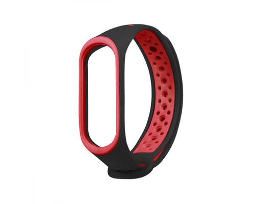 Ремешок для Xiaomi Mi Band 3 перфорированный черный с красной окантовкой