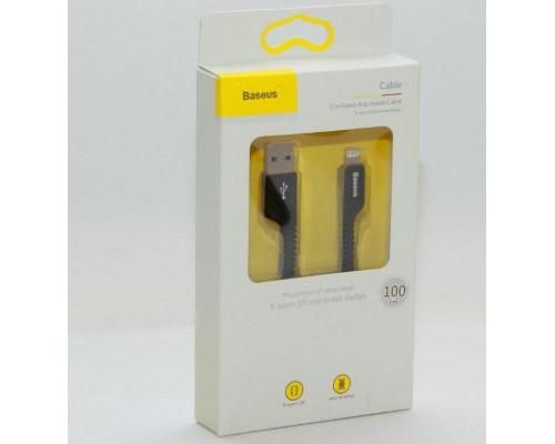 Кабель USB Lightning 1M 2A Anti-break Baseus черный
