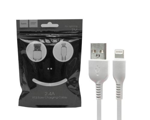 Кабель USB Lightning X13 1M 2.4A HOCO белый