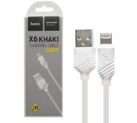 Кабель USB Lightning X6 1M HOCO белый