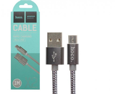 Кабель USB Micro USB X2 1M HOCO серый