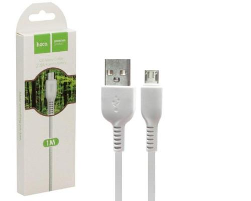 Кабель USB Micro USB X20 1M 2.4A HOCO белый