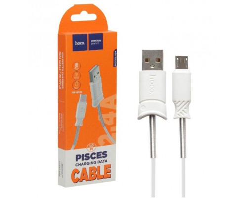 Кабель USB Micro USB X24 1m HOCO белый