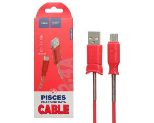 Кабель USB Micro USB X24 1m HOCO красный