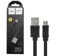 Кабель USB Micro USB X5 Bamboo 1M плоский HOCO черный