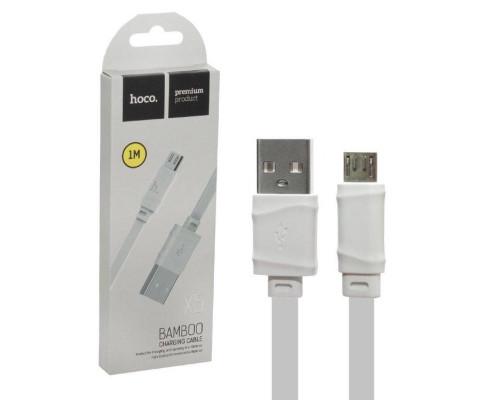 Кабель USB Micro USB X5 Bamboo 1M плоский HOCO белый