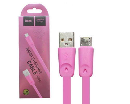 Кабель USB Micro USB X9 1M плоский HOCO розовый
