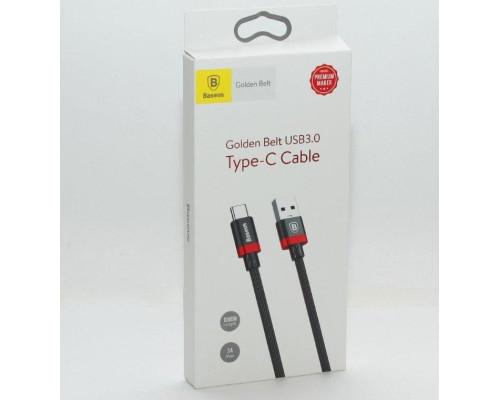 Кабель USB Type-C 1M 3A Golden Belt Baseus черный с красным
