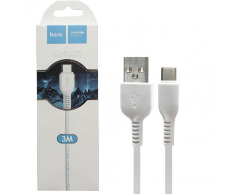 Кабель USB Type-C X20 3M HOCO белый