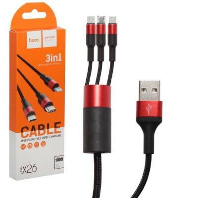 Кабель HOCO X26 USB 3 в 1 Lightning — microUSB — Type-C нейлон черный с красным