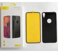 Защитное стекло Baseus для iPhone XR 3D 2в1 дисплей и задняя часть черное