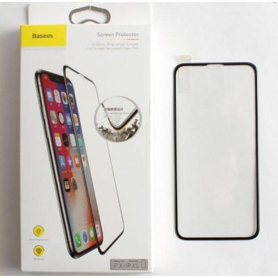 Защитное стекло Baseus для iPhone XS толщина 0.23 мм 5D с рамкой черное
