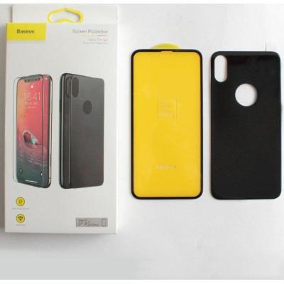 Защитное стекло Baseus для iPhone XS 3D 2в1 дисплей и задняя часть черное