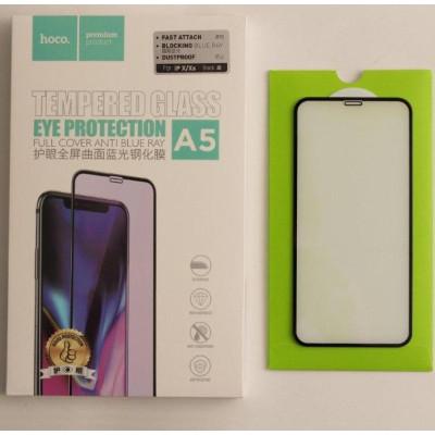 Защитное стекло HOCO для iPhone X 3D Anti Blue Ray черное