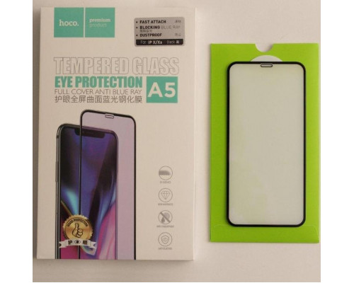 Защитное стекло HOCO для iPhone XS 3D Anti Blue Ray черное