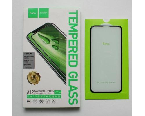 Защитное стекло HOCO для iPhone XS 3D усиленный край черное