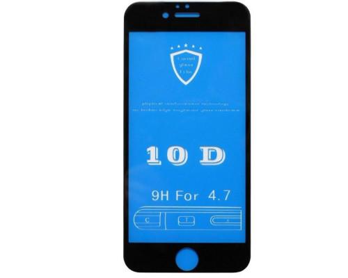 Защитное стекло для iPhone 6S 10D черное 9H