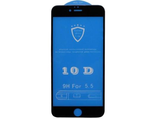Защитное стекло для iPhone 6S Plus 10D черное 9H