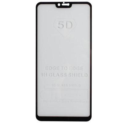 Защитное стекло для Xiaomi Mi8 Lite (вид - 5D полная проклейка, черная рамка, в комплекте салфетка, стикер и гель для подклейки)