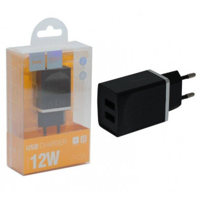 Сетевое зарядное устройство на 2 USB C43A HOCO черный