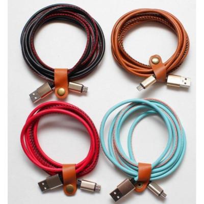 Кабель USB Micro USB 2M 2A кожзам Leather