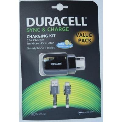 Сетевое зарядное устройство Duracell microUSB 1m 2.1A черный