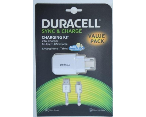 Сетевое зарядное устройство Duracell microUSB 1m 2.1A белый
