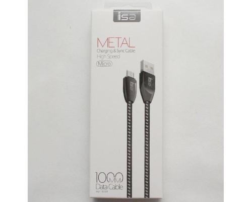 Кабель USB micro USB 1m 2.1A нейлон-металл черный