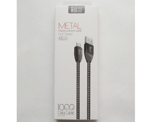 Кабель ISA USB micro USB 1m 2.1A нейлон-металл черный
