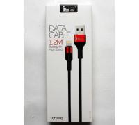 Кабель USB Lightning 1.2m 2.1A нейлон-металл черный