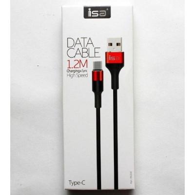 Кабель USB Type-C 1.2m 2.1A нейлон-металл черный с красным