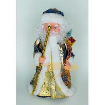 Фигура Деда Мороза в сине-золотой шубе высотой 40 см