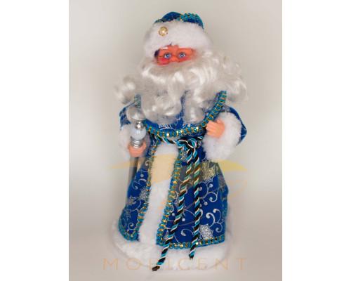 Фигура деда мороза с посохом в синей шубе высотой 40 см
