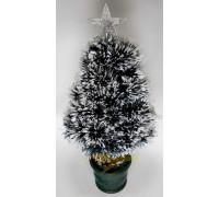 Искусственная новогодняя елка в горшке 60 см зеленая с белым со звездой и гирляндой