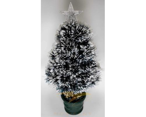 Искусственная новогодняя елка на подставке 90 см зеленая с белым со звездой и гирляндой