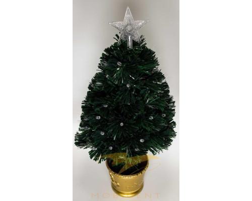 Искусственная новогодняя елка на подставке 150 см зеленая со звездой и гирляндой