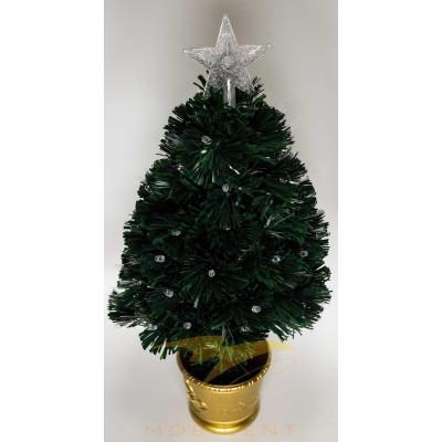 Искусственная новогодняя елка в горшке 60 см зеленая со звездой и гирляндой