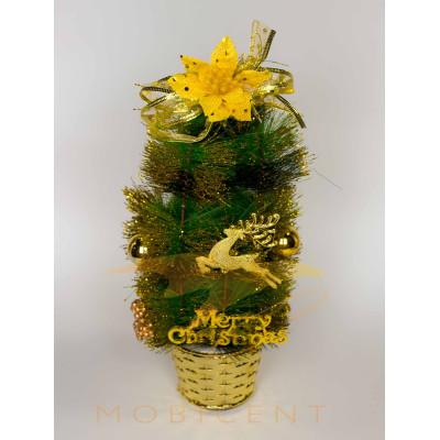 Елочка настольная в горшке marry christmas с цветком, оленем и шаром, высота 35 см
